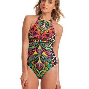 Trina Turk African High Neck one Piece Swimsuit